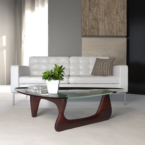 LeisureMod Imperial Cherry Wood Triangle Coffee Table