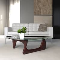 LeisureMod Imperial Triangle Coffee Table with Cherry Wood Base