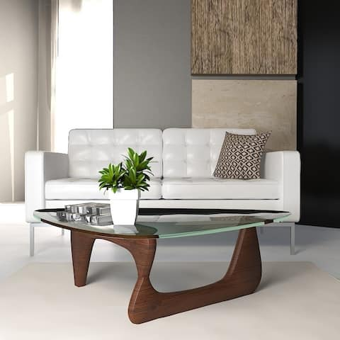 LeisureMod Imperial Triangle Tempered Glass Coffee Table