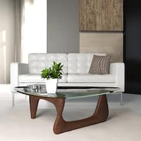 LeisureMod Imperial Triangle Coffee Table with Dark Walnut Wood Base