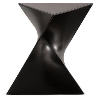 LeisureMod Quinzy Modern Black Polycarbonate 17-inch Vanity Stool/ Side Table