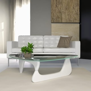 Link to LeisureMod Imperial Triangle Coffee Table with White Wood Base Similar Items in Living Room Furniture