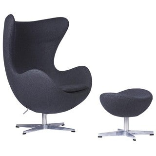 LeisureMod Dark Grey Modena Wool Chair/ Ottoman Set