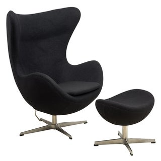 LeisureMod Black Modena Wool Chair/ Ottoman Set