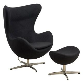 LeisureMod Black Modena Wool Chair/ Ottoman Set