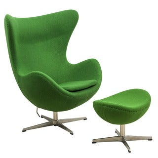 LeisureMod Green Modena Wool Chair/ Ottoman Set