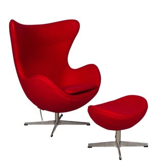 LeisureMod Red Modena Wool Chair/ Ottoman Set