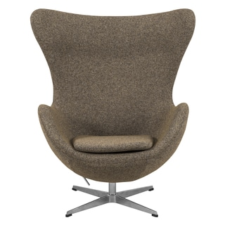 LeisureMod Modena Oatmeal Wool Upholstered Chair
