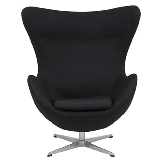 LeisureMod Modena Black Wool Upholstered Chair