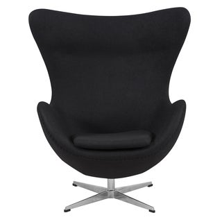 LeisureMod Modena Black Wool Upholstered Modern Accent Lounge Chair