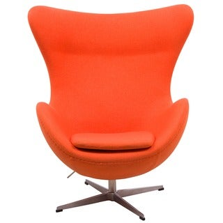 LeisureMod Modena Orange Wool Upholstered Chair