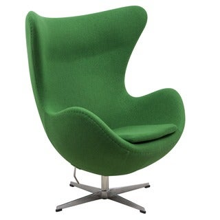 LeisureMod Modena Green Wool Upholstered Chair