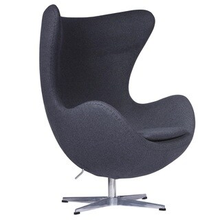 LeisureMod Modena Grey Wool Upholstered Modern Accent Lounge Chair