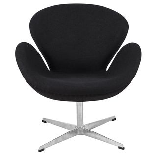 LeisureMod Black Modern Wool Luray Chair