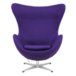 LeisureMod Modena Purple Wool Upholstered Chair