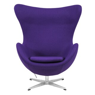 LeisureMod Modena Purple Wool Upholstered Modern Accent Lounge Chair