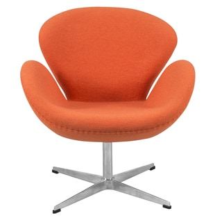 LeisureMod Orange Modern Wool Luray Chair
