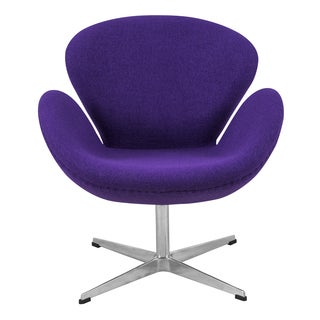 LeisureMod Luray Purple Wool Swivel Lounge Accent Side Armchair