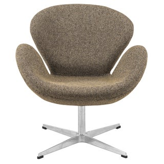 LeisureMod Brown Modern Wool Luray Chair