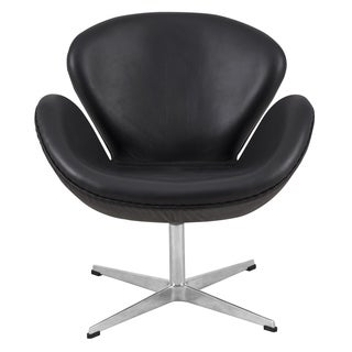 LeisureMod Black Modern Leather Luray Chair
