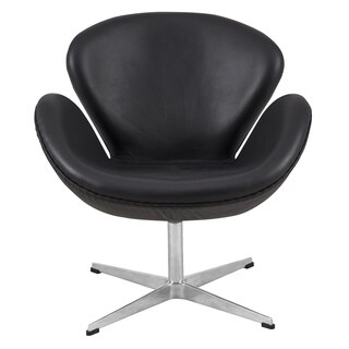 LeisureMod Luray Black Leather Swivel Lounge Accent Side Armchair