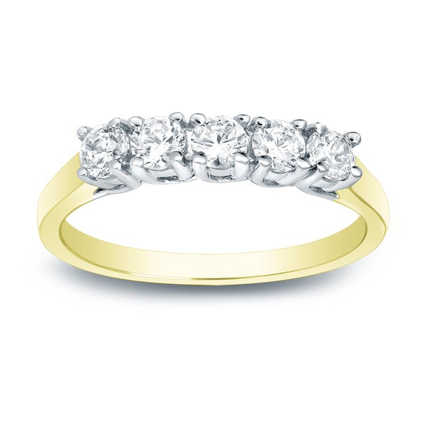 Auriya 14k Two-Tone Gold 1/2ct TDW 5-Stone Diamond Wedding Band