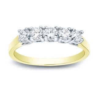 Auriya 14k Two-Tone Gold 1/2ct TDW 5-Stone Diamond Wedding Band|https://ak1.ostkcdn.com/images/products/10470171/P17560591.jpg?impolicy=medium