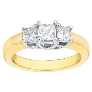 Auriya 14k Two-Tone Gold 1ct TDW Princess-Cut 3-Stone Diamond Engagement Ring