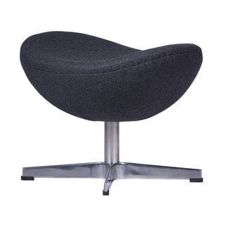 LeisureMod Grey Modena Modern Wool Egg Chair Ottoman