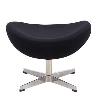 LeisureMod Black Modern Modena Black Wool Egg Chair Ottoman