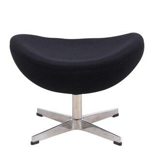 LeisureMod Black Modern Modena Black Wool Egg Chair Ottoman