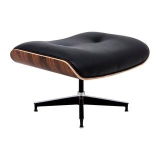 LeisureMod Zane Black Leather Modern Plywood Ottoman