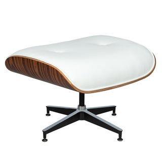 LeisureMod Zane Plywwod White Leather Ottoman