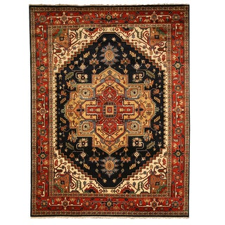 Hand-knotted Wool Navy Traditional Oriental Serapi Rug - 4' x 6'