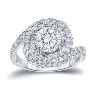 Auriya 14k White Gold 2 1/3ct TDW Round Diamond Ring (D, SI3)