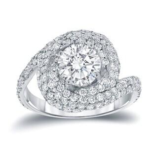Auriya 14k White Gold 2 1/3ct TDW Round Pave Diamond Halo Swirl Engagement Ring (5 options available)