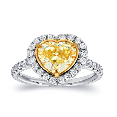 Auriya Fancy 3ct TDW Heart Shaped Yellow Diamond with Halo Engagement Ring 18k Gold Certified