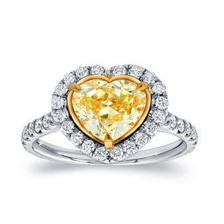 Auriya 18k Two-Tone Gold 3ct TDW Certified Fancy Yellow Diamond Heart-Shaped Engagement Ring (F-G, VS1-VS2)