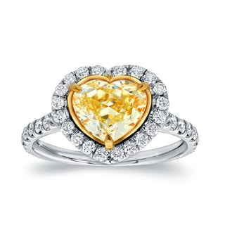 Auriya 18k Two-Tone Gold 3ct TDW Certified Fancy Yellow Diamond Heart-Shaped Engagement Ring