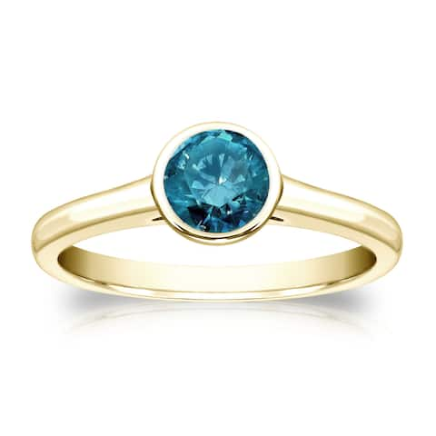 Auriya 14k Gold 1/2ctw Bezel-set Solitaire Blue Diamond Engagement Ring