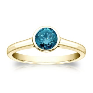 Auriya 14k Gold 1/2ct TDW Round Blue Diamond Solitaire Bezel Ring (Blue)
