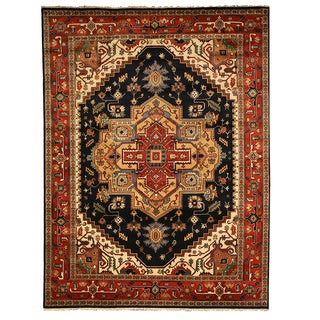 EORC Hand Knotted Wool Navy Serapi Rug (6' x 9')