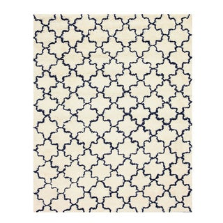 Handmade Wool Ivory Transitional Geometric Moroccan Shaggy Rug (5' x 8')