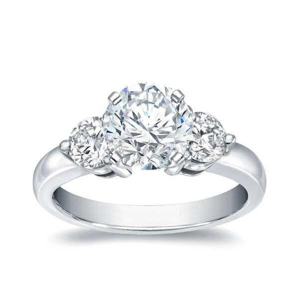 d9b3388f99e78 Shop Auriya 1 3/4ctw Round 3-Stone Diamond Ring 14k White Gold - On ...