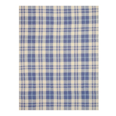 Handmade Wool Blue Transitional Plaid Plaid Rug - 5' x 8'