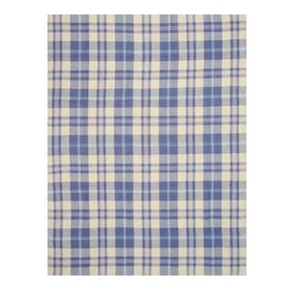Handmade Wool Blue Transitional Plaid Plaid Rug (5' x 8')