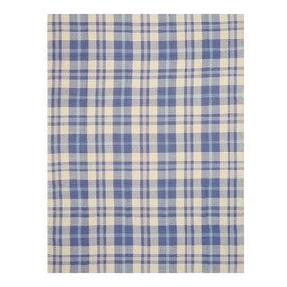 EORC Handmade Wool Blue Plaid Rug (5' x 8')