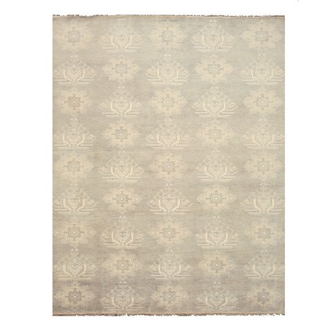 Hand-knotted Wool Gray Traditional Oriental Mono Rug - 10' x 14'