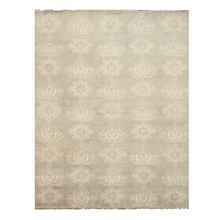 Hand-knotted Wool Gray Traditional Oriental Mono Rug (10' x 14')
