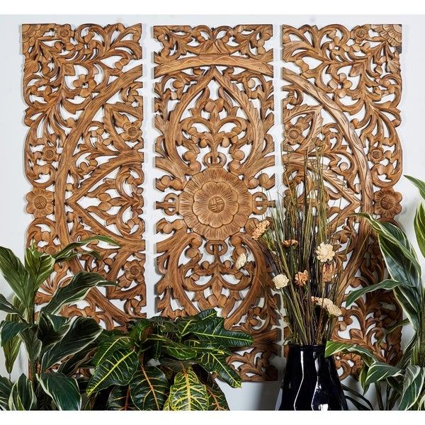 """24"""" x 71"""" Hand-Carved Wood Wall Panels w/ Floral and Acanthus Designs by Studio 350 - Brown"""